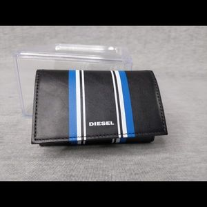 Diesel Alonte Striped Leather Keycase- with flaw